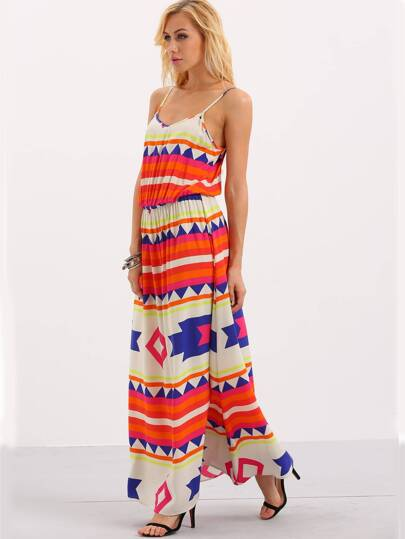 Multicolor Spaghetti Stape Print Maxi Dress