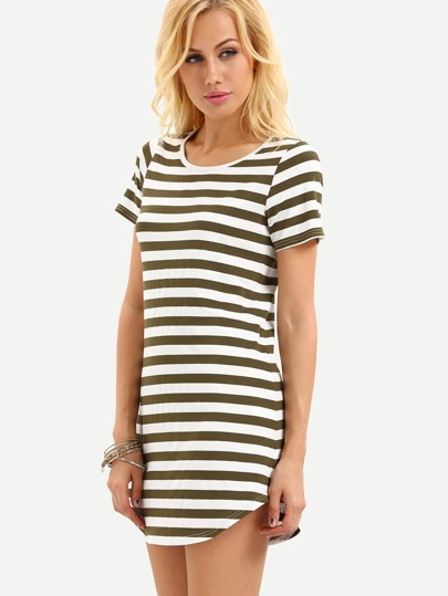 Black White Striped Short Sleeve Dress