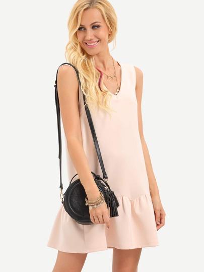 Pink Sleeveless V Neck Backless Dress