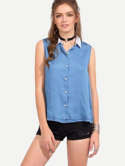 Blue Sleeveless Lapel Button Blouse