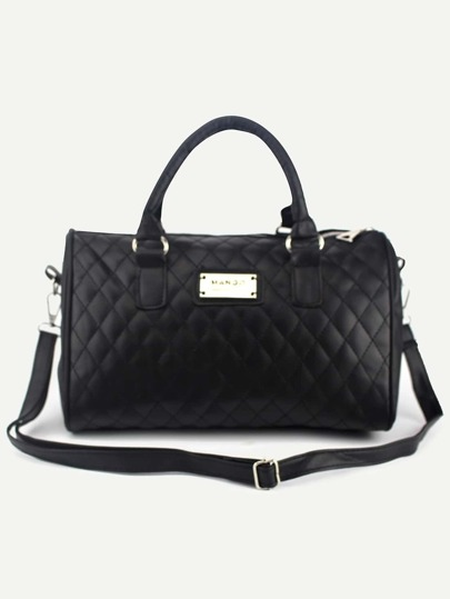 Faux Leather Quilted Bowler Bag - Black