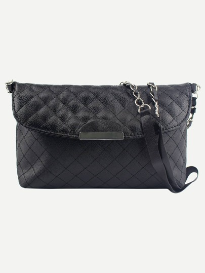 Faux Leather Quilted Flap Bag - Black