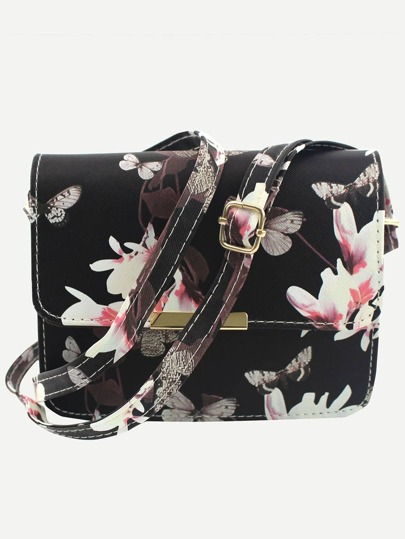 Flower & Butterfly Print Flap Bag - Black