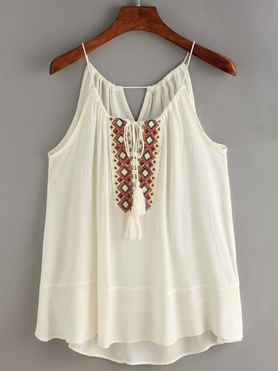Tasselled Drawstring Neck Embroidered Cami Top - Beige