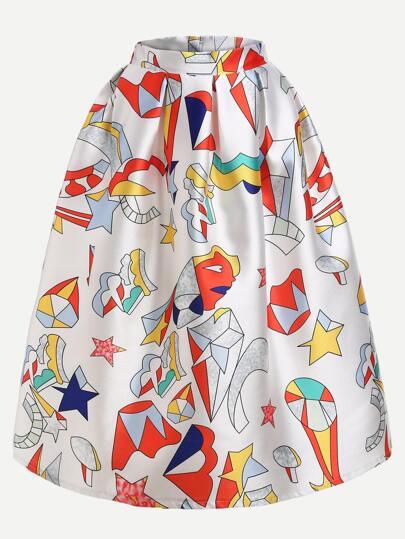 Multicolor Printed Box Pleated Midi Skirt