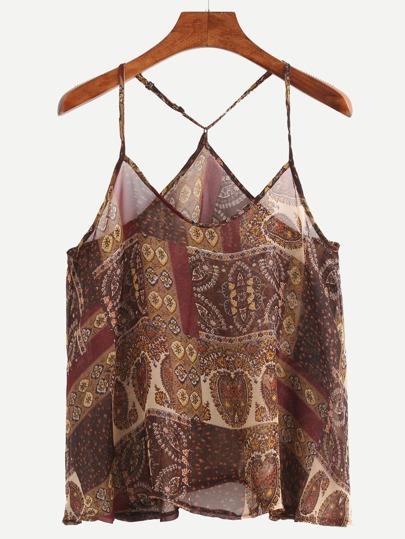 Vintage Print Chiffon Cami Top - Brown