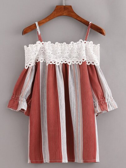 Lace Trimmed Cold Shoulder Vertical Striped Top - Brick red