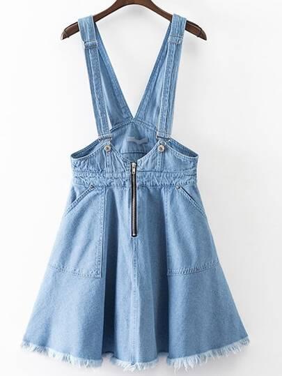 Jupe zippé avec poche - bleu