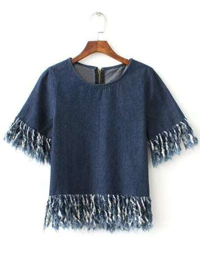 Blue Short Sleeve Zipper Back Fringe Trim Denim Blouse