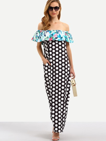 Макси платье в горошек с воланами с открытыми плечами с принтом