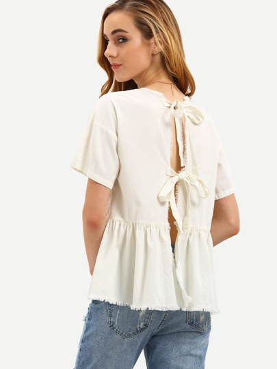 Beige Short Sleeve Tie Back Pleated Blouse