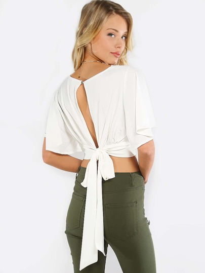 Split Tie Back Crop Blouse