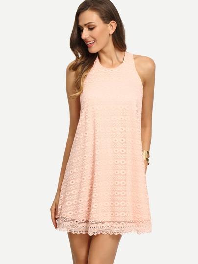 Pink Sleeveless Hollow Shift Lace Dress