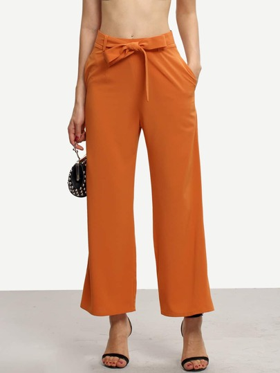 Orange Tie Waist Pockets Wide Leg Pants