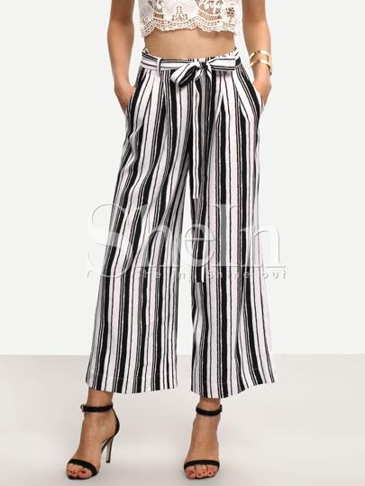 Black White Striped Tie Waist Pockets Pants
