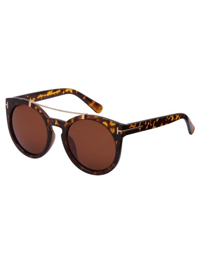 Leopard Frame Top Bar Oversized Round Sunglasses