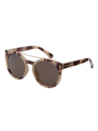 Brown Frame Top Bar Oversized Round Sunglasses