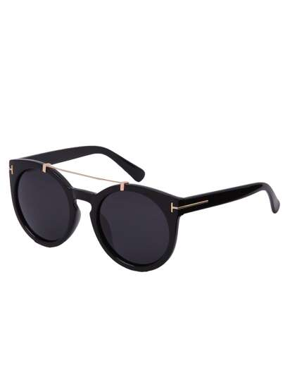 Black Lenses Top Bar Oversized Round Sunglasses