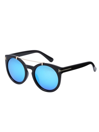 Blue Top Bar Oversized Round Sunglasses