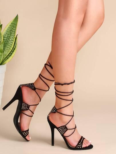 Black Studded Lace Up Heeled Sandals