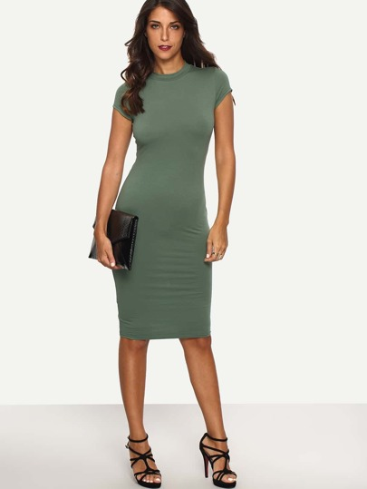 Green Cap Sleeve Crew Neck Sheath Dress