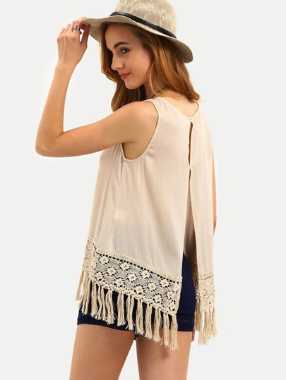 Apricot Sleeveless Tassel Split Back Tank Top