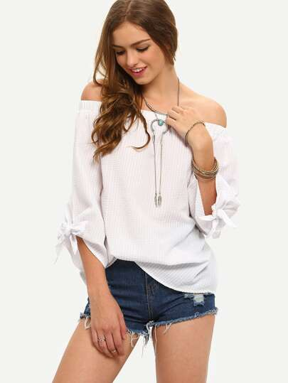 White Off The Shoulder Cuff Bow Blouse