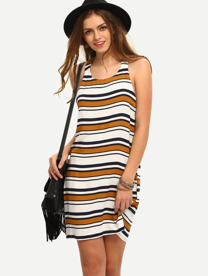 Multicolor Sleeveless Striped Shift Dress