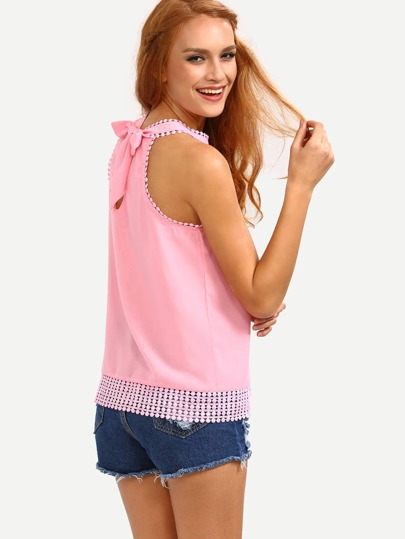 Lace Trimmed Halter Neck Chiffon Top - Pink