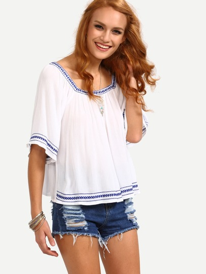 Square Neck Embroidered Blouse - White