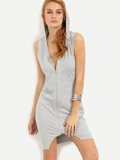 Zip Front Hooded Sleeveless Dress - Grey