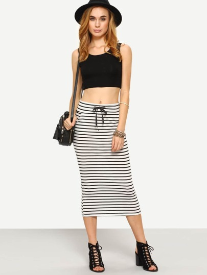 Drawstring Waist Striped Jersey Pencil Skirt - White
