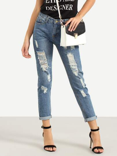 Ripped Straight Blue Jeans