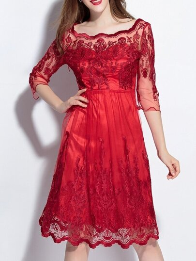 Red Gauze Embroidered Disc Flowers Dress
