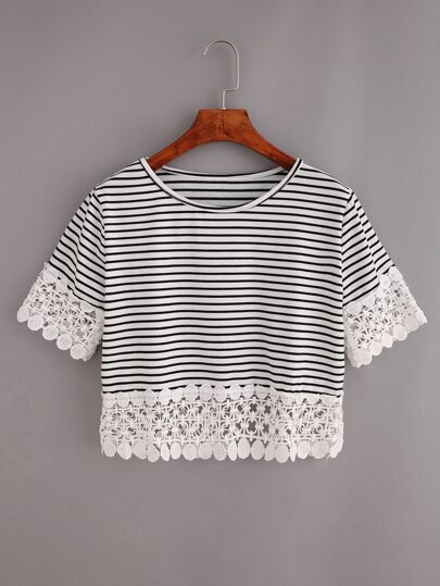 Lace Trimmed Black White Striped Crop T-shirt