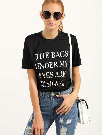 Letter Print Black T-shirt