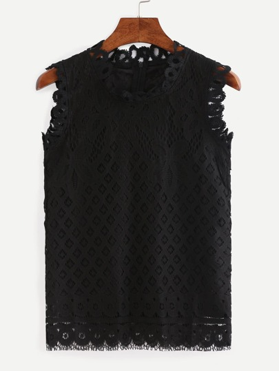 Zip Back Lace Tank Top - Black