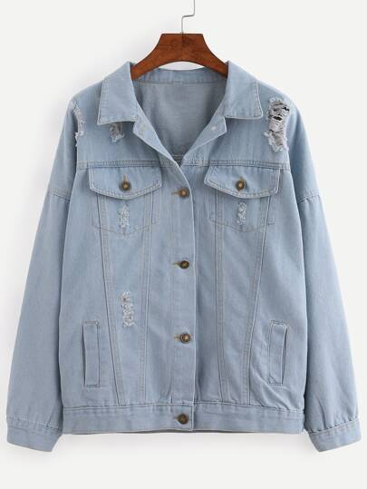 Buttoned Front Ripped Light Blue Denim Jacket