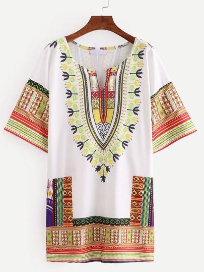 Tribal Print White Tunic Dress