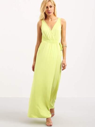 Surplice Front Self-Tie High Slit Dress - Yellow