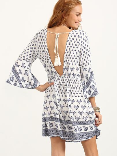 Double V-Neck Drawstring Waist Tribal Print Dress - Blue