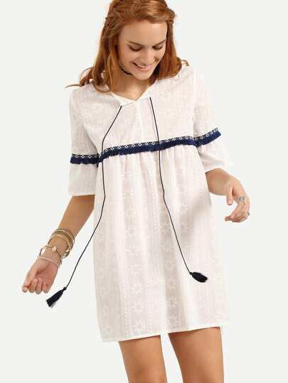 Tassel Tie-Neck Woven Tape Embellished Dress - White
