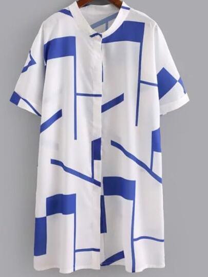 Blue Short Sleeve Buttons Front Geometric Print Dress