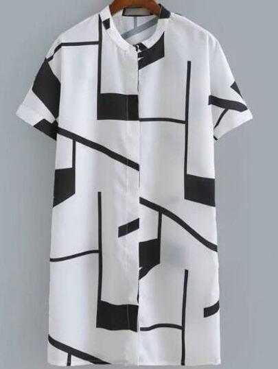 Black Short Sleeve Buttons Front Geometric Print Dress