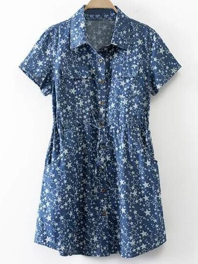 Blue Tie Waist Buttons Front Pockets Stars Print Dress