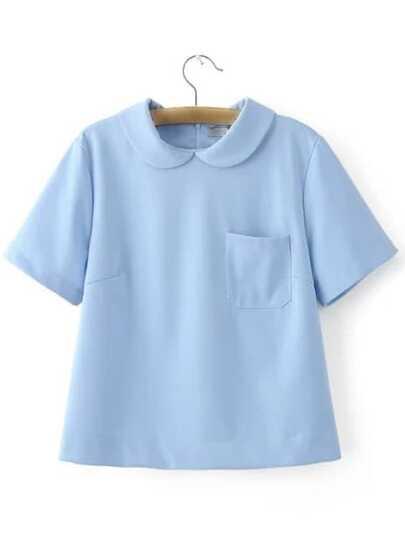 Blue Peter Pan Collar Zipper Back Short Sleeve Blouse