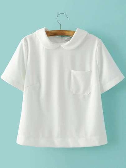 White Peter Pan Collar Zipper Back Short Sleeve Blouse