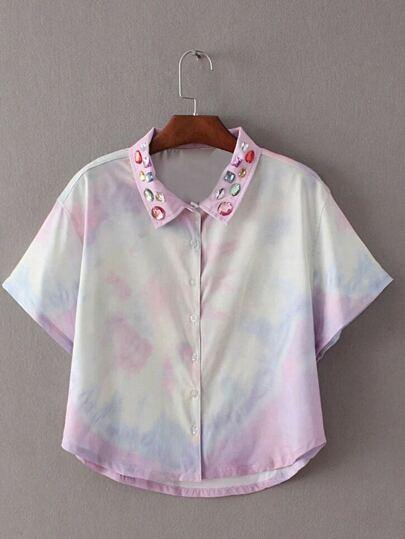 Multicolor Diamonds Lapel Buttons Front Tie-dye Print Short Sleeve Blouse