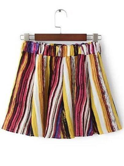 Multicolor Elastic Waist Striped Skirt