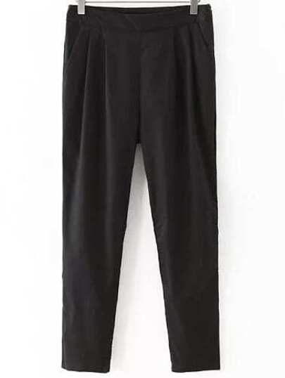 Black Pockets Zipper Side Skinny Pants